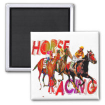 Horse Racing Action Magnet
