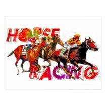 Horse Racing Action Postcard