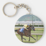 Horse racing basic round button keychain