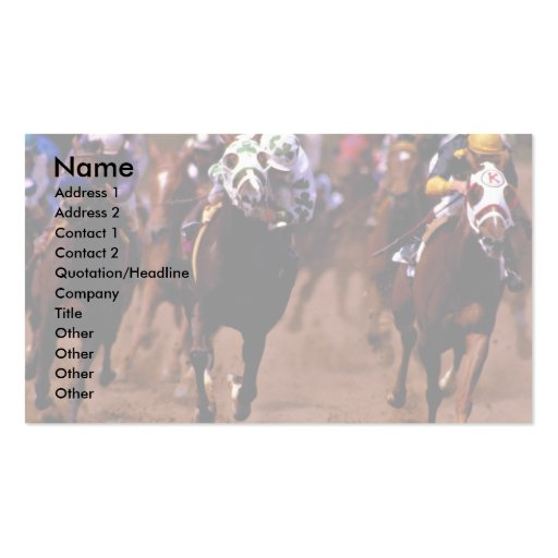 Horse racing business cards for Horse business cards