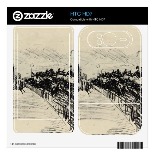 Horse racing by Edouard Manet Decal For HTC HD7