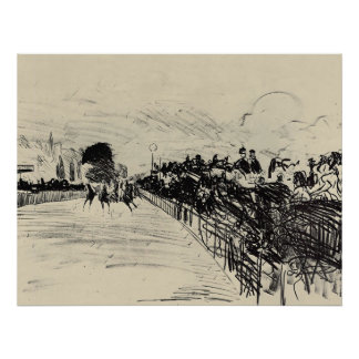 Horse racing by Edouard Manet Poster