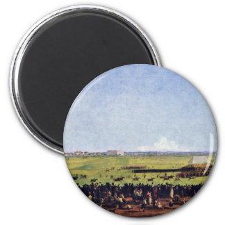 Horse Racing By Kobell Wilhelm Von (Best Quality) 2 Inch Round Magnet