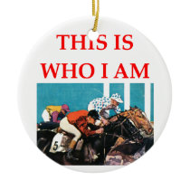 horse racing ceramic ornament