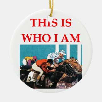 horse racing ceramic ornament