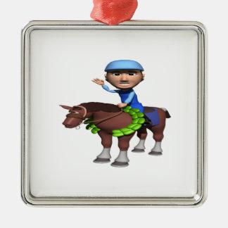 Horse Racing Champion Square Metal Christmas Ornament
