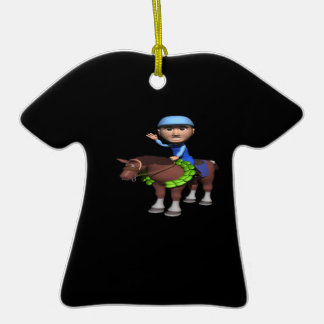 Horse Racing Champion Double-Sided T-Shirt Ceramic Christmas Ornament
