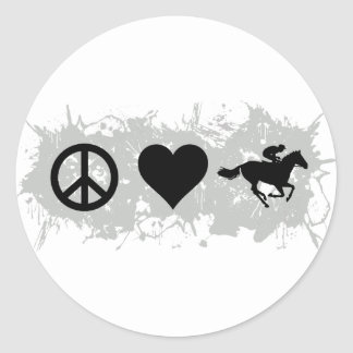 Horse racing classic round sticker