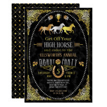 Horse Racing Derby Day Party Art Deco Black Gold Invitation
