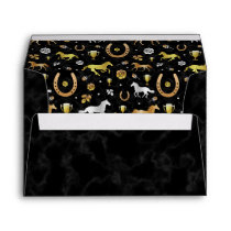 Horse Racing Derby Day Party Black Gold Pattern Envelope