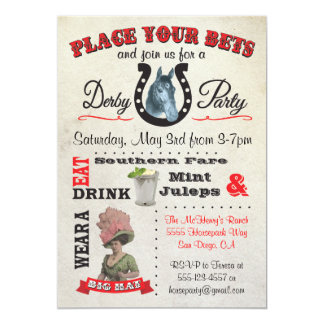 "Horse Racing Derby Party Poster Invitations 5"" X 7"" Invitation Card"