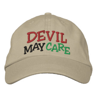 Horse Racing Devil May Care Embroidered Baseball Cap