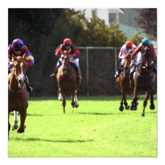 """Horse Racing Field Invitations 5.25"""" Square Invitation Card"""