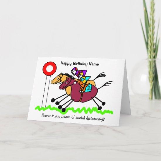 Horse Racing Funny Cartoon Birthday Card