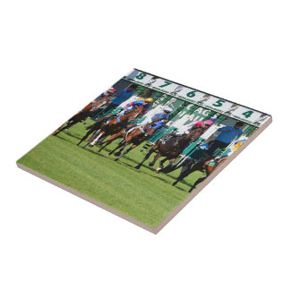 Horse Racing Horses Leaving The Gate Tile