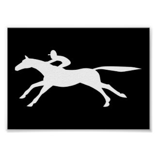 horse racing icon print
