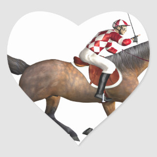 Horse Racing Jockey and Horse Heart Sticker