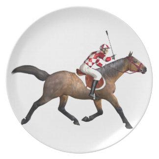 Horse Racing Jockey and Horse Plate