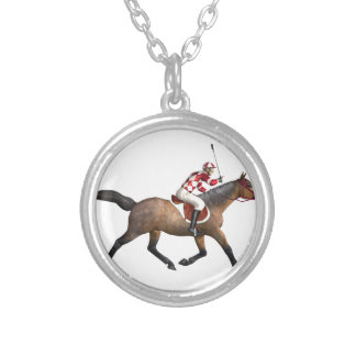 Horse Racing Jockey and Horse Round Pendant Necklace