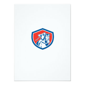 Horse Racing Jockey Shield Retro 14 Cm X 19 Cm Invitation Card