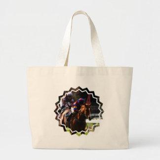 Horse Racing Jumbo Canvas Tote Bag