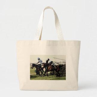 Horse Racing Large Tote Bag