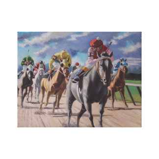 Horse racing looking behind stretched canvas prints