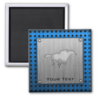 Horse Racing; metal-look 2 Inch Square Magnet
