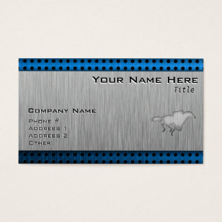 Horse Racing; metal-look Business Card