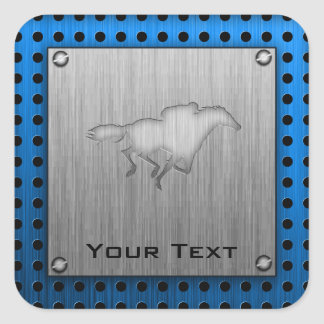 Horse Racing; metal-look Square Sticker