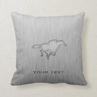 Horse Racing; metal-look Throw Pillow