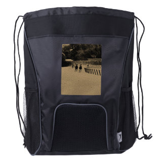 Horse Racing Muddy Track Grunge Drawstring Backpack