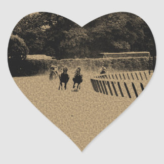Horse Racing Muddy Track Grunge Heart Sticker