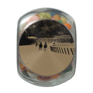 Horse Racing Muddy Track Grunge Jelly Belly Candy Jar