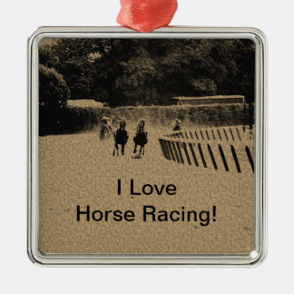 Horse Racing Muddy Track Grunge Metal Ornament