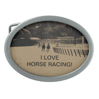 Horse Racing Muddy Track Grunge Oval Belt Buckle