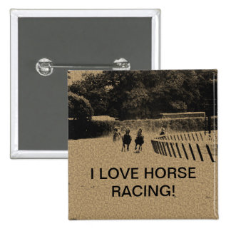 Horse Racing Muddy Track Grunge Pinback Button