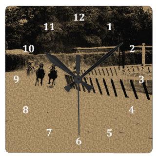 Horse Racing Muddy Track Grunge Square Wall Clock