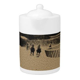 Horse Racing Muddy Track Grunge Teapot