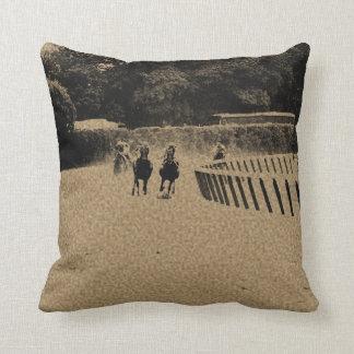 Horse Racing Muddy Track Grunge Throw Pillow