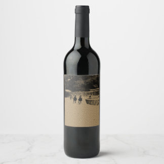Horse Racing Muddy Track Grunge Wine Label