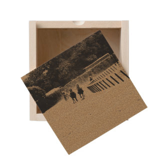 Horse Racing Muddy Track Grunge Wooden Keepsake Box