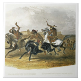 Horse Racing of Sioux Indians near Fort Pierre, pl Ceramic Tile