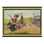Horse Racing on Thread Spools Postcard