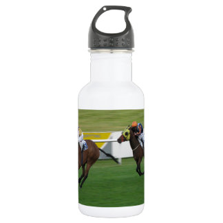 Horse racing on turf, jockey and horse pictures 18oz water bottle