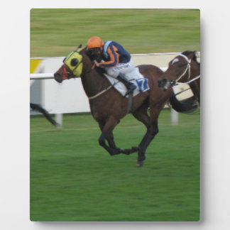 Horse racing on turf jockey and horse pictures plaque
