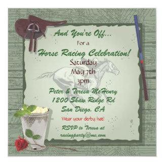 "Horse Racing Party Invitation 5.25"" Square Invitation Card"