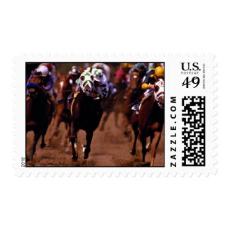 Horse racing postage stamp