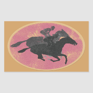 Horse Racing Rectangular Sticker