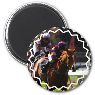 Horse Racing Round Magnet